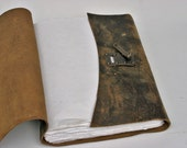 Rugged Leather Album / Journal with Metal Latch and Handmade Paper