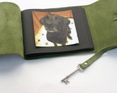 Green Leather Instagram Photo Album with Archival Pages / Includes 1 pk photo corners