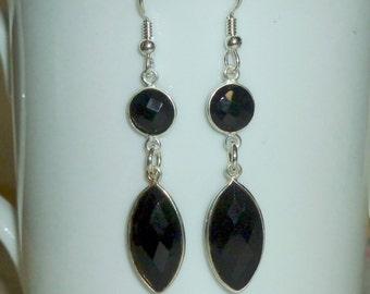 Onyx Gemstone Earrings, Black Onyx Bezel Earrings, Onyx Earrings, Onyx Jewelry