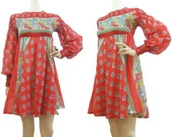 Vintage 60s Dress Babydoll Empire Hippie Mini S