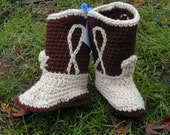 Crocheted Cowboy Cowgirl Boot Booties Brown and Tan Size 1 Baby Shoe