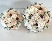 Blush and Wine Wedding Bouquet - sola flowers - choose colors - bridal bouquet - Alternative -Custom - bridesmaids bouquet