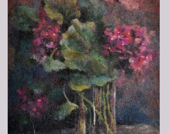 Felted painting of wool. Felted wall hanging picture. GERANIUM. OOAK.