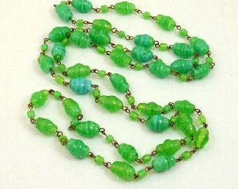Art Deco Venetian Glass Bead Flapper Necklace Swirled Glass Aventurine Glass Art Glass Murano Glass Wired Necklace End of Day Necklace Green