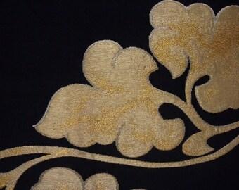 Fukuro obi S132, Fukuro, woven obi, black, gold