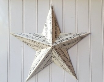 Sheet music tin star decoupaged metal wall barn star 12 inch vintage paper Farmhouse Cottage Chic