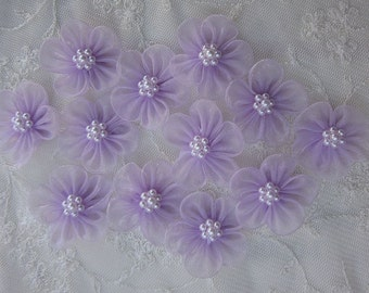 12 pc LAVENDER Organza Pearl Beaded Ribbon Fabric Flower Applique Bridal Baby Doll Hair Bow