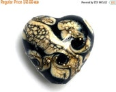 ON SALE 30% OFF Black w/Silver Ivory Heart Focal Bead - Handmade Glass Lampwork Bead 11810105