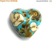 ON SALE 30% OFF Turquoise, Ivory & Beige Heart Focal Bead - Handmade Glass Lampwork Bead 11811805