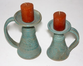 Blue Green Candlestick Trio in Stoneware Holiday  Decor One of A Kind