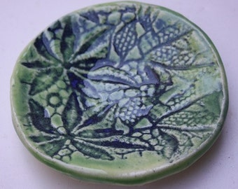 Two Small Dishes for Prep or Trinkets Lace Embossed Stoneware Clay Dark and Spring Green  A Pair