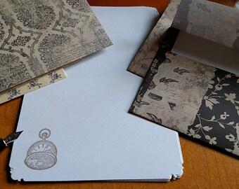 Stationery Letter Set Vintage Pocket Watch 10 sheets and 5 coordinating envelopes