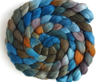 Merino/ Silk Roving (Top) - Handpainted Spinning or Felting Fiber, Water's Reflection