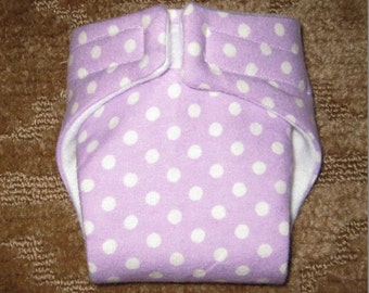 Baby Doll Diaper/Wipe-Poka Dots on Purple-Fits Bitty Baby, Baby Alive, Cabbage Patch, American Girl Dolls and More