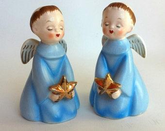 Pair of Nippon Yoko Boeki Vintage Blue Kissing Angels Christmas Figurines Japan