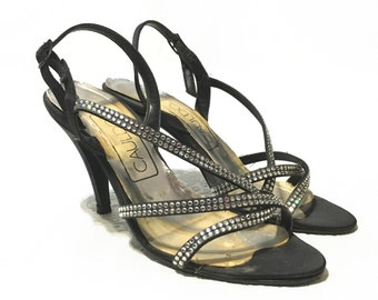 Vintage 1970's Strappy Rhinestone Pumps High Heel Shoes Black Size 7 Made in Italy