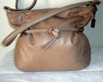 Letisse  med size satchel ,shoulder bag  cross body bag vintage 60s genuine leather golden tone belted detail  French Beige color