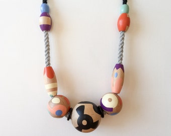Necklace 3.5 : handpainted wood beads and vintage acrylic beads on cotton rope - hand painted beaded wearable art jewery statement necklace