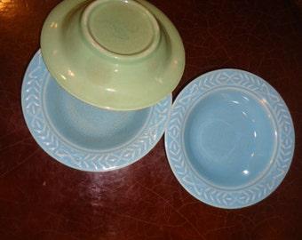 Vintage Laurella Pottery 3 Sauce Dishes Dinnerware