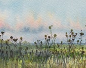 Gone to Seed, original watercolor painting, landscape