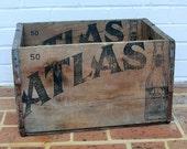 Antique Vintage Wooden Box Antique Vintage Wood Box Crate Antique Vintage Atlas Beer Box Crate