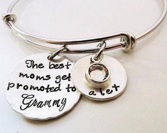 Grandma Bracelet - Grammy Bracelet - Personalized Bracelet- The best moms - Personalized Jewelry - bangle bracelet