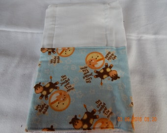 Baby Burp Cloth -- Blue with the Cow Jumping Over the Moon