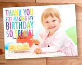 Thank You Photo Cards, Kids Personalized Cards, kids thank you, Custom Photo Thank You Card, Birthday Thank You, Rainbow, Big Block Letters