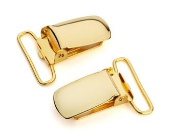 "10pcs - 1"" Suspender Clip - Gold - Free Shipping (SUSPENDER CLIP SPN-113)"