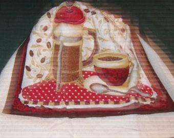 Crochet hanging towel, coffee, gold crochet top