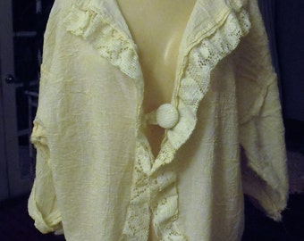 Muslin and Lace Jacket/Plus Size/Natural Unbleached Cotton/1-3X
