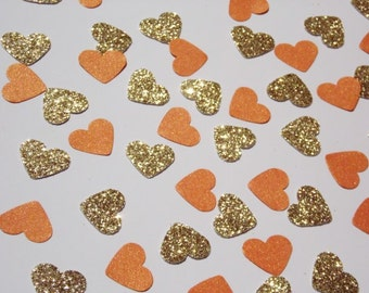 Gold Glitter Heart Confetti, Orange Shimmer Hearts, Table Scatter, Fall Wedding Reception Decor, Party Decoration