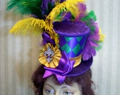 Mini Top Hat, Mardi Gras Hat, Mascquerade Hat, Carnival Mini Top hat, Alice in Wonderland Mini Top Hat, Mad Tea Party Hat