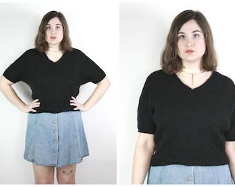 90s Black Cropped Sweater / Minimal Short Sleeved Angora Fuzzy Knit V Neck Simple Basic Vintage Top / Size L/XL Extra Large