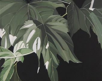 Mulberry Leaves Painting - Green Monochromatic Nature Botanical Acrylic Painting