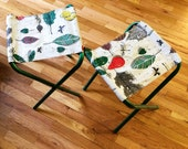 Two Vintage Camp Stools Mad Men Style with Green Aluminum Frame and Vinyl Coated Canvas with Leaf Design 50's to 60's Perfect For Fishing