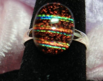 Brown Striped Sparkly Handmade Fused Dichroic Glass Cab Ring - R128