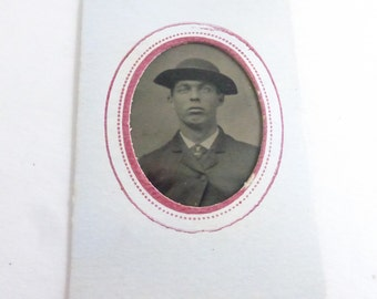Antique Tiny Tin Type Portrait of Man with Floppy Hat