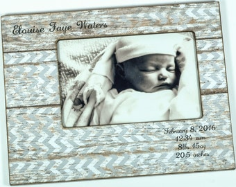 Newborn Baby Photo Frame with Birth Statistics, baby boy frame, baby girl frame, personalized baby frame 4x6, 5x7