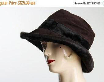 ON SALE 1910s Suede & Fur Hat . Antique