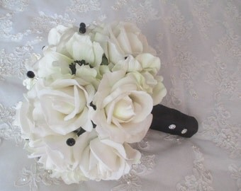 Real Touch Cream/White Roses and Silk Anemones with Inky Black Centers Bridal Bouquet Set