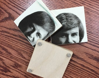 THE LETTERMEN recyled album cover art coasters with vinyl record bowl
