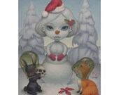 Mini Art Print of Offering to the Snow Woman Collectible Home Decor Print