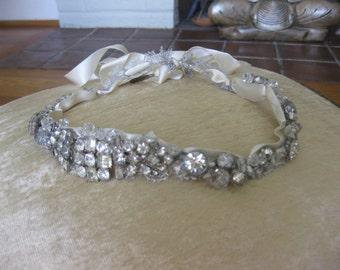 Rhinestone Ribbon Circlet wreath Vintage jewels, Rhinestone headband, One of a Kind