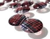 Tartan Lentil Charms Handmade Acrylic Vintage Red Green White Blue Plaid Large Highlander Beads Geometric Dangles Pendants RTS or Custom A3