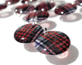 Tartan Lentil Charms Handmade Acrylic Vintage Red Green White Blue Plaid Large Highlander Beads Geometric Dangles Pendants RTS or Custom A3