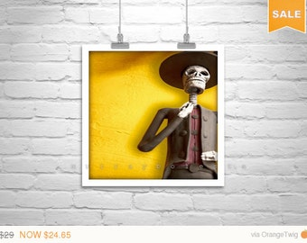 Sale 15% Day of the Dead Art, Mexican Folk Art, Dia de los Muertos, Tucson Photograph, Hispanic Art, Murray Bolesta, Square Art, Yellow and