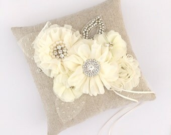 Ivory Linen Ring Bearer Pillow - Rustin Ring Bearer Pillow - Ready to Ship