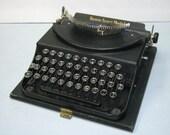 RESERVED FOR  David Brechbiel Antique Remie Scout Model Art Gothic Script Portable Depression Era Typewriter with Case 1932