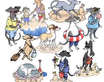 Summer Vacation Dog Clipart